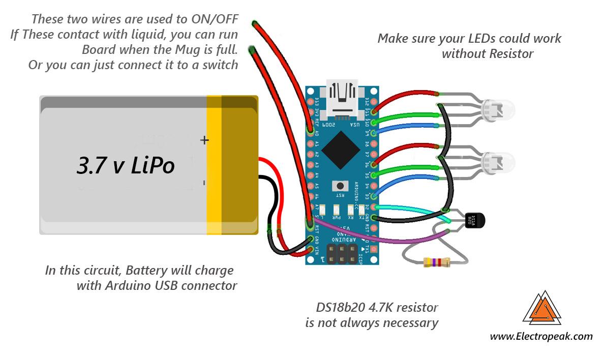 Make a Smart Mug By LED & Arduino - ElectroPeak
