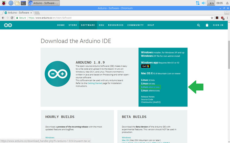 Download the Arduino software for Linux operating systems based on ARM processors.