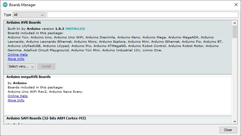 Install new board Arduino IDE
