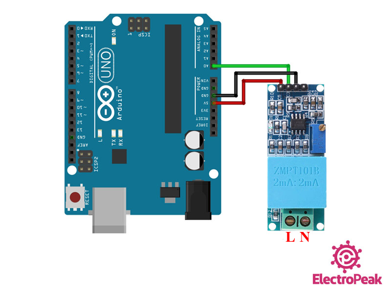 ZMPT101B Arduino circuit