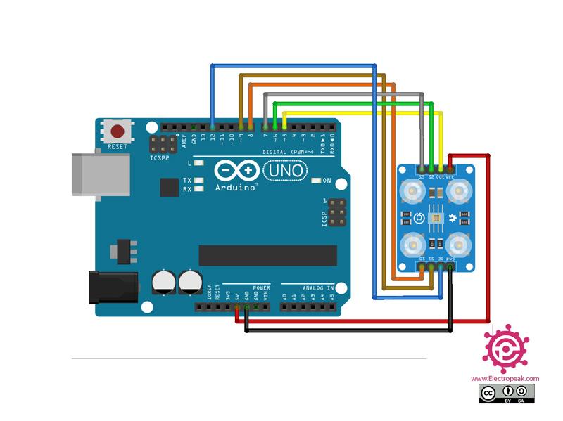 TCS230 Sensor Arduino circuit