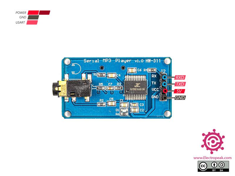 YX6300 MP3 Player Module Pinout