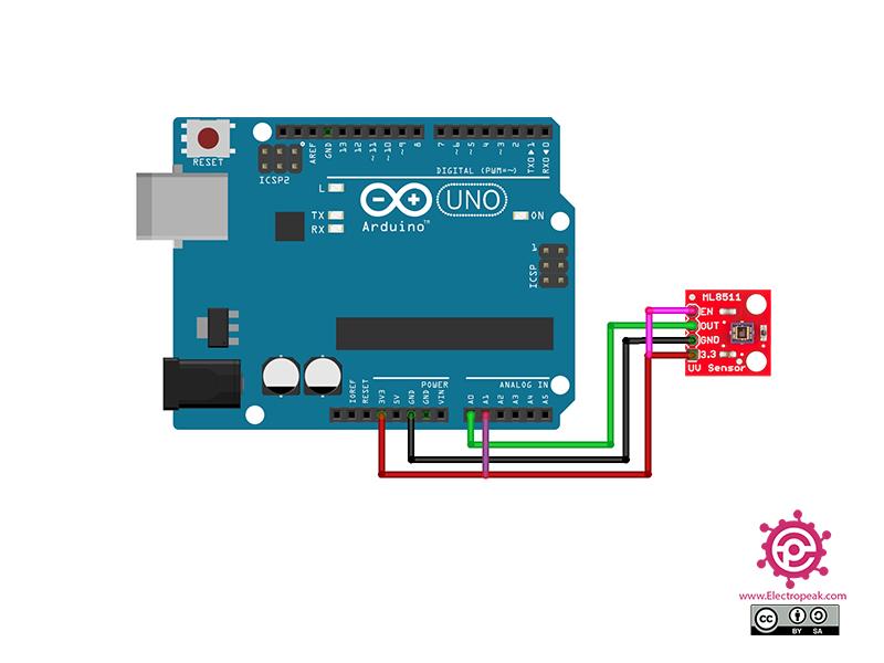 ML8511 UV Detection Module Arduino circuit