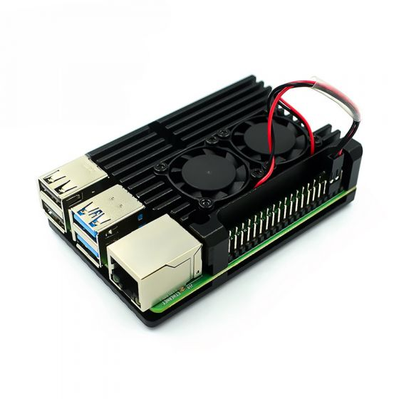 Raspberry Pi 4 Aluminum Metal Case with Dual Cooling Fan